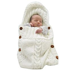 LANSHULAN  Newborn Baby Blanket Toddler Sleeping Bag Sleep Sack Stroller Wrap (White)