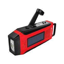 RunningSnail Emergency Solar AM/FM//NOAA Weather Radio – 3W LED Flashlight, SOS Alarm & ...