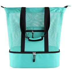 Mesh Beach Tote Bag 2 in 1 Lightweight Picnic Bag with Zipper Insulated Cooler (Green)