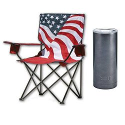 Quik Chair US Flag Folding Armchair w/20 Oz Insulated Cup
