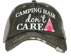 Katydid Camping Hair Don't Care Women's Trucker Hat-gray/hot pink