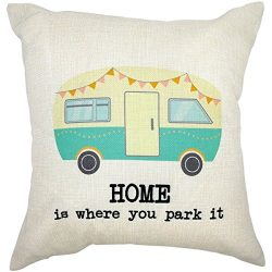 Arundeal Home Is Where You Park It Van 18 x 18 Inch Cotton Linen Square Throw Pillow Cases Cushi ...