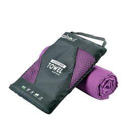 RainLeaf Antibacterial Microfiber Towel, Small (16 x 32 inches), Purple