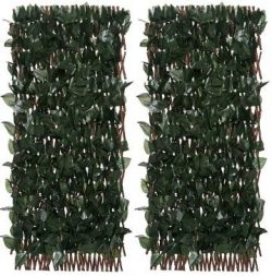 Compass Home Set of 2 Expandable Faux Ivy Privacy Fences