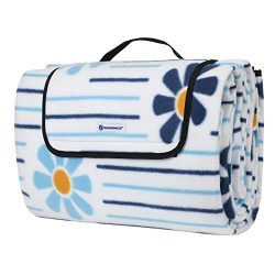 SONGMICS Outdoor Picnic Blanket Beach Mat with Waterproof Backing and Handle Extra Large 79̸ ...
