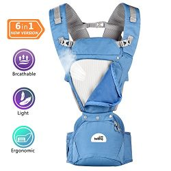 Baby Carrier With Hip Seat for All Seasons,360° Ergonomic Baby-Child Carrier With large storage  ...