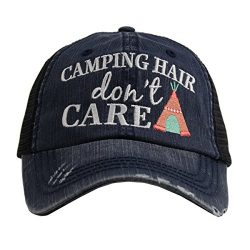 Katydid Camping Hair Don't Care Women's Distressed Grey Trucker Hat (Navy/Coral)