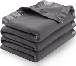 Utopia Bedding Sateen Polar Fleece Blanket with Sateen Ribbon Edges (Grey, Queen) – Extra Soft B ...