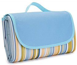 NaturalRays 80×60 Family Picnic Blanket with Tote, Extra Large Foldable and Waterproof Camp ...