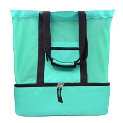 Lefon Mesh Beach Tote Bag, 2 in 1 Outdoor Travel Bag with Zipper Top and Insulated Picnic Cooler ...