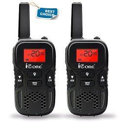 iCore Kids Walkie Talkie,Long Range 2 Way Radios (Pair) for Children, 22 Channel Flash Light (Black)