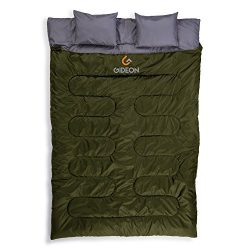 Gideon Extreme Waterproof Backpacking Double Sleeping Bag with 2 Pillows – Amazingly Lightweight ...