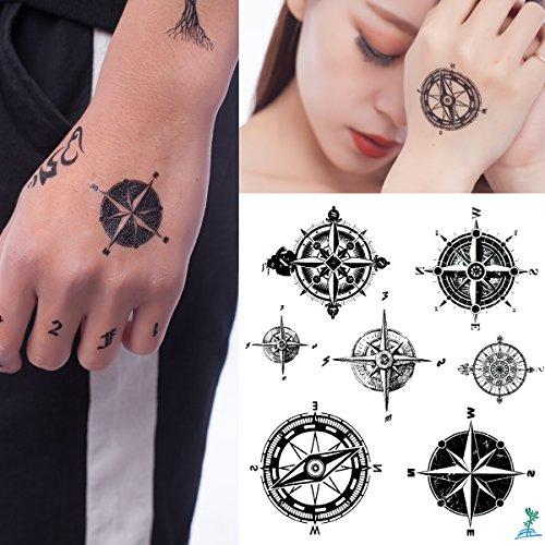 Yeeech Compass Directions Temporary Tattoos Sticker Black Grey for Men Women Couple Small Waterproof