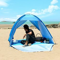 WolfWise UPF 50+ Easy Pop Up Beach Tent Instant Sun Shelter Tent Sunshade Baby Canopy (3-4 Perso ...