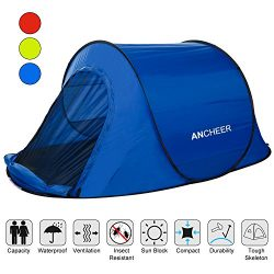 ANCHEER Pop Up Tent, Automatic Instant Tent, Backpacking Camping Hiking Tent, 1-2 Person Beach T ...