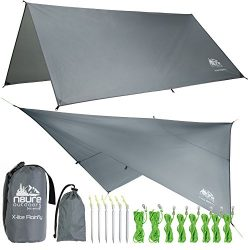 CAMPING HAMMOCK RAIN FLY TENT TARP WATERPROOF LIGHTWEIGHT GREY DIAMOND RIPSTOP NYLON 10'X1 ...