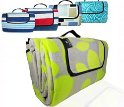 Large/XX-Large Premium 3-Layer Picnic Blanket/Outdoor Blanket with Waterproof Backing and Polar  ...