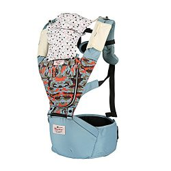 Baby Carrier Backpack for Infant Kids Toddlers with Hoodie Hip Seat for Women Men Light Blue