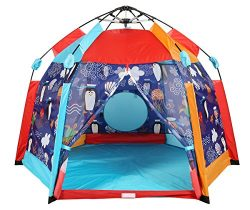 UTEX Automatic Instant 6 Kids Play Tent for Indoor/ Outdoor Fun,Kids Beach Tent Sun Shelter with ...