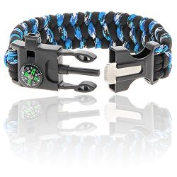 Paracord Survival Bracelet | With Compass, Whistle, Flint Fire Starter, and Knife Scraper | 550  ...