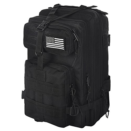 CVLIFE 30L Outdoor Tactical Backpack Military Rucksacks Molle for Camping with Velcro Patch Black