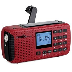TIVDIO HR-11W NOAA Weather Alert Radio Alarm with Emergency Radio AM FM Solar Hand Crank Camping ...