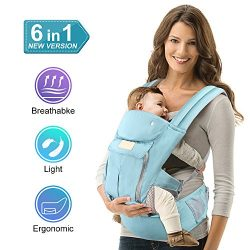 Pansonite Baby Carrier with Hip Seat, 6-in-1 Convertible Carrier, The Complete All Seasons 360 E ...