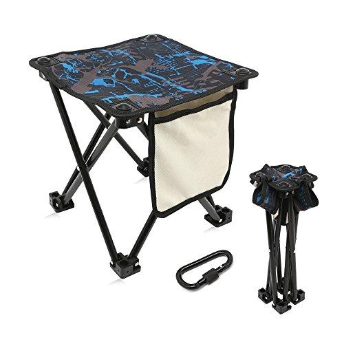 Migree Mini Portable Folding Stool with Side Pocket & Bag Hanger,Folding Camping Stool,Outdo ...