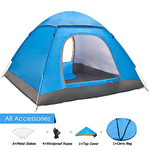 Amagoing 2-4 Person Family Camping Tent Portable Automatic Pop Up Tent Shelter With Carry Bag fo ...
