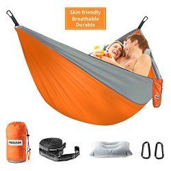 HODGSON Camping Hammock XL Double Hammock with Heavy Duty 14 Loops Tree Straps & Air Pillow, ...