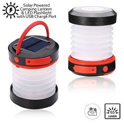Indigi Water Resistant Emergency Camping Outdoor Indoor Solar Powered LED Lantern Flashlight wit ...
