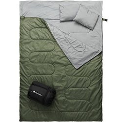 MalloMe Double Camping Sleeping Bag – 3 Season Warm & Cool Weather – Summer, Spr ...
