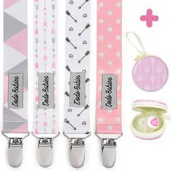 Pacifier Clip by Dodo Babies Pack of 4 + Pacifier Case, Premium Quality for Girls Modern Designs ...