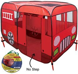 Large Children Fire Engine Truck Pop-Up Playhouse Play Tent (with No-Step) At Front Door for Eas ...