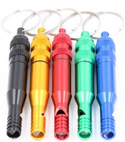 Emergency Survival Whistle Keychain – 5 Pack Aluminum Metal Alloy Whistles, Waterproof Sma ...