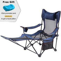 Camp Solutions Light Weight Backpacking Reclining/lounging Camping Folding Chair with Headrest & ...