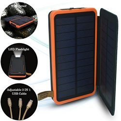 SPEEDWOLF 26,500MAH Waterproof Powerbank Dual USB Portable Chargers Solar power bank battery for ...