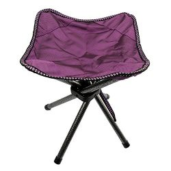 Lastia Camping Tripod Stool for Fishing Hiking Outdoor Four Legs Purple 11″x11″x13.7 ...