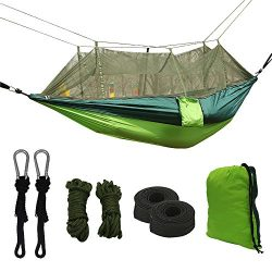 Double Parachute Camping Hammock with Mosquito Net,High Capacity and Tear resistance with 2 Adju ...