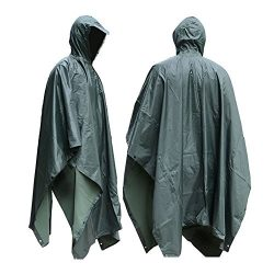 JTENG Waterproof Ripstop Hooded US PVC Camouflage Rain Poncho – Large- Green