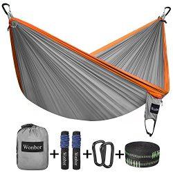 Wonbor Hammock, Camping Double hammocks Lightweight Portable Parachute Nylon Hammock With Tree S ...