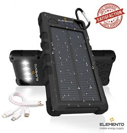ELEMENTO Solar Charger Portable 16000mAh -Highly Durable Waterproof Power Bank 2 USB Ports For i ...