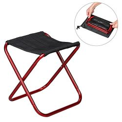 Ultra-Light Aluminum Alloy Portable Folding Camping Stool with Carry Bag, Four Legs Portable Col ...