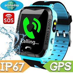 Kids Smart Watch Phone Waterproof,GPS Tracker with SIM Pedometer Fitness Tracker Boys Girls Wris ...