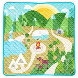 HIDEABOO Children's Portable Super Soft Activity Play Mat for Babies and Toddlers, Happy C ...