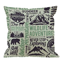 HGOD DESIGNS Camping Pillow Covers,Decorative Throw Pillow Retro Styled Mountain with Animal and ...