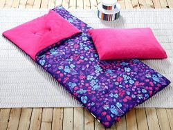 Sleeping Bag and Pillow Cover, Purple Pink Teal Floral Indoor Outdoor Camping Youth Girls