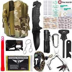 EVERLIT Upgraded Emergency Survival First Aid 80-In-1 Tactical Outdoor Molle Bag Tool Kit Custom ...