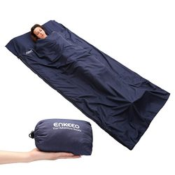 ENKEEO Sleeping Bag Liner Travel Camping Sheet Lightweight Compact Envelope Sleep Bag Pillow Roo ...