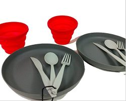 Ozarktrail 2 person Table Setting – Camping Collapsible Cups, Plastic Spoon/Forks and Plates